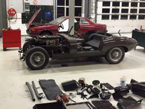 Jaguar E-type restoration in our workshop