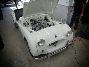Triumph TR2 engine bay