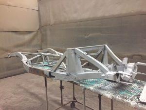 MGA chassis media blasting
